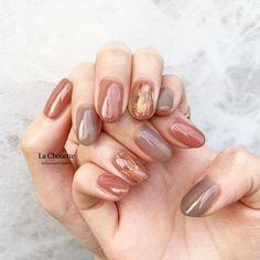 design by lachouette_risako La Chouette dojima Love Nails, Pretty Nails, Fun Nails, Uñas Color Cafe, Nail Art Designs, Manicure Gel, Brown Nails, Brown Nail Art, Instagram Nails