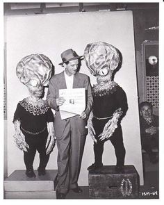 """On the set of """"Invasion of the Saucer Men"""" (1957)."""