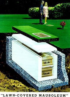 """Lawn-Covered Mausoleum""via blueruins Cemetery Headstones, Zen, The Secret History, After Life, Memento Mori, Casket, Vintage Advertisements, Land Art, Death"