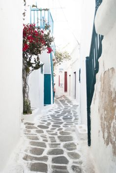 ~ 'Cobbled Alley' Mykonos Town by Eleni Psyllaki ~ Mykonos Town, Santorini, Places To Travel, Places To See, Beautiful Places, Beautiful Pictures, Interesting Buildings, Greek Islands, Holiday Destinations