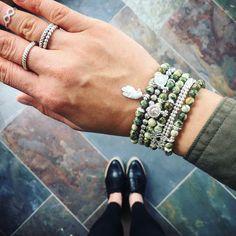 New green stonebracelets with silver - i like - magic - ocean jaspis
