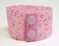 Pretty In Pink Beadwoven Cuff Bracelet.This cuff bracelet is beadwoven with seed beads in a color mix of pinks. Unique Bracelets, Handmade Bracelets, Handmade Jewelry, Color Mixing, Pretty In Pink, Seed Beads, Unique Gifts, Jewelry Making, Detail