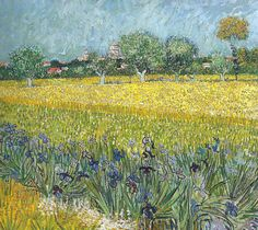 Vincent van Gogh - View of Arles with Irises in the Foreground, 1888 (Van Gogh Musuem Amsterdam Netherlands) Van Gogh: Up Close at Philadelphia Museum of Art (by mbell1975)