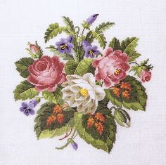 A lovely, traditional flower picture with pink and white roses and blue campanulas.