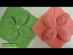 Silvana Tim - Tejido con dos Agujas, Crochet, Recetas de Cocina: CUADRADO con FLOR (hojas) en relieve tejido en 5 agujas # 279