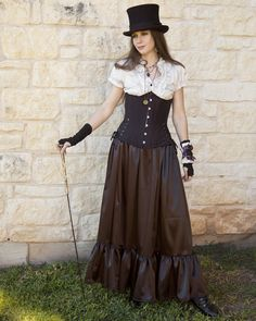 Gothic Steampunk Black Satin Ruffle Skirt | Faire Treasures