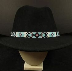 763f0e4ede1 Baby blue beaded hatband with slide adjustment in the back. Native American  Handmade Item Material  Hex Beads Tribe  Navajo Size  40 x