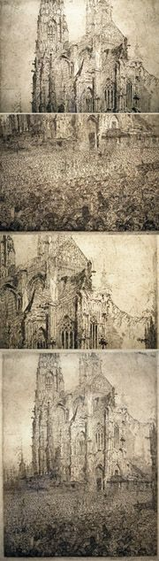 "James Ensor, etching, ""Christ's Entry into Brussels"" with detail views"