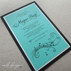 music notes bat mitzvah invitation with swirly music staff