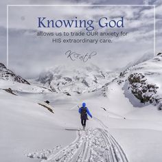 Knowing God allows us to trade OUR anxiety for HIS extraordinary care. ~KFaith . Essential Faith, Volume II coming in 2018! Visit Kimberly Faith's website for more information: www.gofaithstrong.com. #christianwoman #attorney #author #musician #singer #songwriter #god #prayer #quote #bible #faith #snow #hike #sledding #anxiety #extraordinary