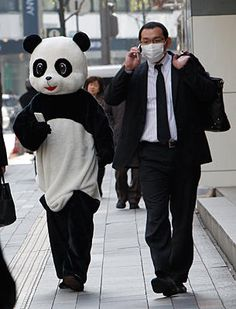 I have no idea what is going on in this photo, but I like it. Shizuo Kambayashi/AP #panda #costume #mascot #tokyo #photo