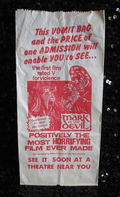 """Barf Bag handed out with """"Mark Of The Devil"""" rated V for violence!"""