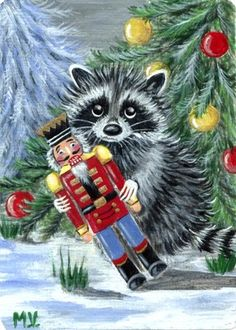 Original Raccoon Nutcracker Winter Snow Christmas Toy ACEO Print | eBay
