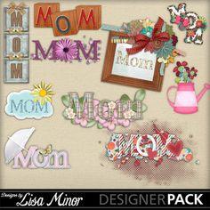 Mothers Day digital scrapbook word art / clip art, Digital Scrapbook Mothers Day, Digital Scrapbook Kit, mom word art