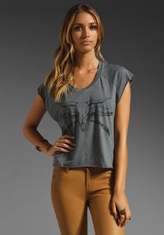 HAUTE HIPPIE Muscle Tee with Sweet Home Longhorn in Charcoal Heather Grey at Revolve Clothing - Free Shipping!