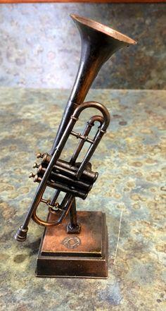 Vintage Brass Cast Trumpet Pencil Sharpener by LeftoverStuff