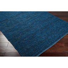 Hand-woven Blue Kong Natural Fiber Jute Rug (9' x 13')