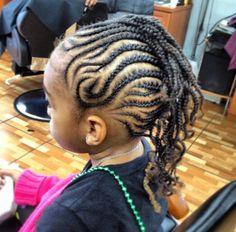 Fine Little Girls Braided Mohawk With Beads Children Natural Hair Short Hairstyles For Black Women Fulllsitofus