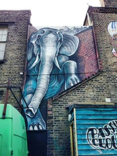 Don't know the street artist who did it, nor where it is, but I love this elephant stuck between buildings.