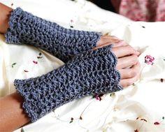 lacy crochet heart pattern | Lacey Crochet Fingerless Gloves Wristwarmers - PDF PATTERN - Gloves ...