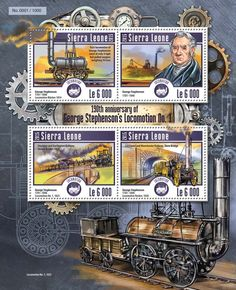 Post stamp Sierra Leone SRL 15201 a 190th anniversary of George Stephenson's Locomotion No. 1 (George Stephenson (1781–1848), Locomotive Blucher 1814, Locomotion No. 1, 1825, Locomotive Rocket, 1830)