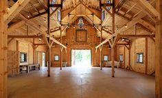 Post & Beam Party Barn Interior. Makes a beautiful wedding venue!