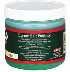 Epsom Salt Poultice by EquiGel. $17.50. Relieve sore muscles and joints by applying this topical gel on sprains, strains, and bruises. Also effective when used on the hoof to help draw infections. Safe for use with a covering wrap. 1lb.