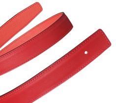 Hermès   Women's reversible leather belt strap in vermilion Swift calfskin and Jaipur pink Epsom calfskin (width: 24 mm) Ref. H052150CACA080   CA$460.00