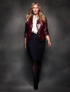 Get the Look - eloquii by The Limited - Shrunken Patch Pocket Blazer, Cutout Bow Blouse, Window Pane Pencil Skirt, Basic Sheer Tights
