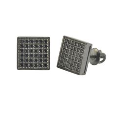 Great pair of sterling silver stud earrings with black rhodium plating. All of the black cz stones are AAA grade top quality stones. The pictures do not do the stones justice - they have excellent spa Hip Hop Fashion, Mens Fashion, Fashion Earrings, Men's Earrings, Black Rhodium, Sterling Silver Earrings Studs, All About Fashion, Plating, Cufflinks