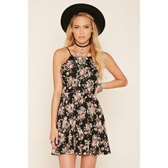 Forever 21 Women's  Floral Print Cami Dress (430 MXN) ❤ liked on Polyvore featuring dresses, forever 21 dresses, floral camisole, pink floral dresses, pink cami and floral cut out dress