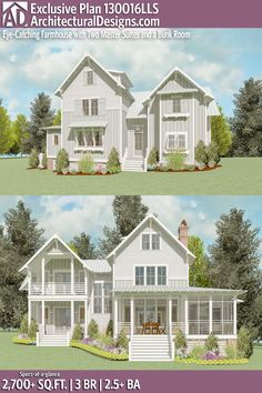 Architectural Designs Exclusive Modern Farmhouse Plan 130016LLS | 3 beds | 2.5+ baths | 2,700 Sq.Ft.+ | Ready when you are! Where do YOU want to build? #130016LLS #adhouseplans #architecturaldesigns #houseplan #architecture #newhome #newconstruction #newhouse #homedesign #dreamhome #dreamhouse #homeplan #architecture #architect #houses #southernliving #lakehouse #exclusive #Modernfarmhouse #Farmhousestyle