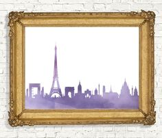 Watercolor Paris Skyline Printable Wall Art - Purple Wall Decor - Cityscape Print - World Cities - French Themed Art - Digital Artwork by PrimroadDesigns on Etsy https://www.etsy.com/listing/261763082/watercolor-paris-skyline-printable-wall
