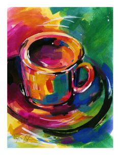 "Coffee Cup Watercolor Painting art -  archival Giclee print from original painting  ""Coffee Dreams"" by Kathy Morton Stanion EBSQ"