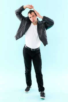 Save this DIY Halloween costume tutorial to learn how to make Grease's Danny Zuko outfit.