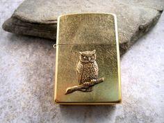 Genuine Zippo Gold Dust Steampunk Owl Cigarette by OneFortyFive, $38.50