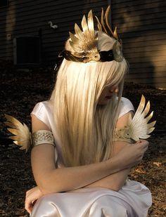 Black and Gold winged leather crown accessory