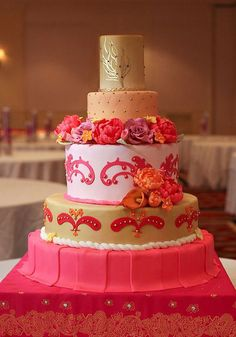 Beautiful Indian Wedding Cake, Gold and pink wedding cake