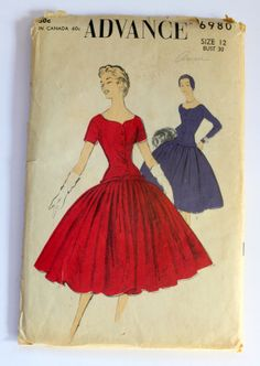 SALE 1950s Advance Evening Dress Pattern sz 12 #6980