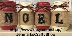 Set of 4 Painted mason jars. Embellished by JenmarksCraftyShop