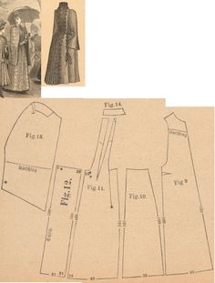 Der Bazar 1889: Light brown woollen springtime cape with bordure; 9. front part, 10. side gore, 11. back part, 12. back gore, 13. collar-sleeve, 14. standing collar in half size