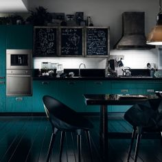 Kitchen: Modern Turquoise Kitchen Design With Amazing Dining Table And Chairs Also Fashionable Pendant Lamp With Black Flooring Also Black And White Kitchen Backsplash Ideas: 25 Beautiful Contemporary Kitchen Designs 2015