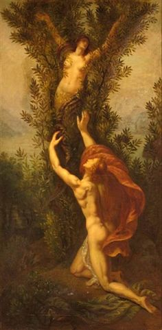 Apollo And Daphne by Armand Point A life-like representation of the laurel tree and Apollo reaching for his lost love. Daphne is still in her female form embedded in the tree and Apollo is gazing up at her, showing how much he really loved her.