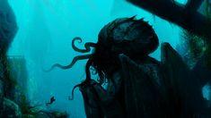 HD wallpaper: kraken illustration, Cthulhu, H. Scary Ocean, Hd Wallpaper, Underwater Wallpaper, Photo Art, Widescreen Wallpaper, Lovecraftian Horror, Cthulhu, Underwater Pictures, Tentacle Art