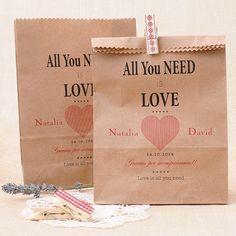 Comprar Bolsas Kraft personalizadas para detalles de boda: All you need is Love