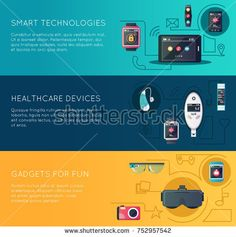Stock Photo: Wearable technology gadgets 3 flat horizontal banners set with augmented reality glasses and fitness tracker isolated illustration