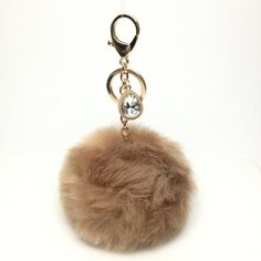 NEW! Faux Rabbit Fur Pom Pom bag Keyring keychain artificial fur puff ball in Tan Crystals Collection