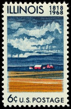 USA stamp commemorating the 150th anniversary of Illinois statehood.   AM