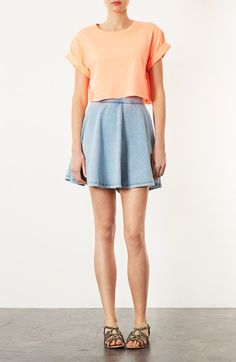 Corset cropped tops and high wasted ombre and studded denim shorts ...
