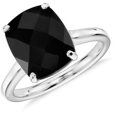 Blue Nile Black Onyx Cushion Cut Ring ($395) ❤ liked on Polyvore featuring jewelry, rings, black onyx cocktail ring, 14k jewelry, 14 karat gold jewelry, black onyx jewelry and cocktail rings